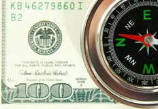 Dollars. The compass is in American dollars Stock Photo