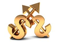 Dollars competition. Abstract 3d illustration of two dollar signs over white background, competition concept Royalty Free Stock Photography
