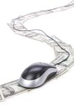 Dollars and computer mouse Stock Photos