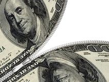 Dollars connected with zipper Stock Images