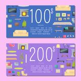 100 and 200 Dollars Coupon Set Vector Illustration. 100 and 200 dollars coupons set with text sample and sofa fireplace and carpets, plants and pictures, tv set Stock Illustration