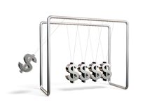 Dollars cradle. Newton's cradle with dollar symbols isolated on a white background Royalty Free Stock Photo