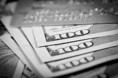 Dollars and Credit Card Royalty Free Stock Photos