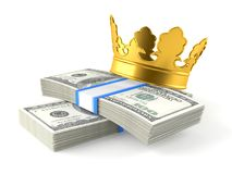 Dollars with crown. On white background Stock Images