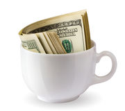 Dollars in a cup Stock Photography