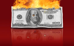 Dollars currency fire financial crisis Stock Photography