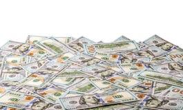 Dollars d'États-Unis d'argent, loupe et blocage d'isolement sur le fond blanc S billet d'un dollar 100 Images libres de droits