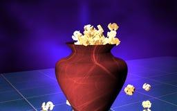 Dollars d'or dans un vase brun Photo libre de droits