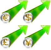 Dollars d'euro Yen Growth Positive Arrow de livre Photographie stock libre de droits