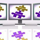 Dollars d'Euros Puzzle Screen Means International d'échange d'argent Photos stock