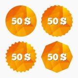 50 dollars d'icône de signe Symbole monétaire d'USD Photos libres de droits