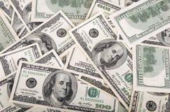 Dollars d'États-Unis d'argent, loupe et blocage d'isolement sur le fond blanc S billet d'un dollar 100 Photos stock