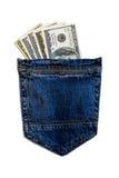 Dollars dans des jeans Photographie stock
