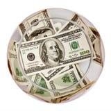 Dollars dans la bouteille Photo stock
