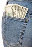 Dollars dans la poche Photos libres de droits