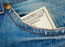 10 dollars dans la poche Photographie stock libre de droits
