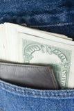 Dollars dans la poche de treillis Photos stock