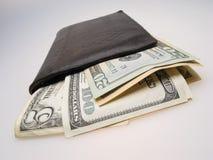 Dollars dans le billfold images libres de droits