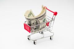 Dollars dans le chariot Photo libre de droits