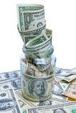 Dollars dans le choc en verre Photo stock