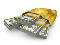 Dollars dans le paquet d'or Photo libre de droits