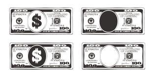 100 dollars dans le style plat de bande dessinée Images stock