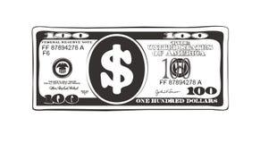100 dollars dans le style plat de bande dessinée, option noire et blanche Photos stock