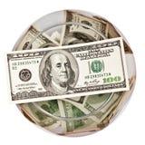Dollars dans une bouteille Photos libres de droits