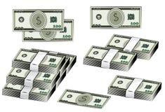 Dollars de billet de banque d'illustration réglée de vecteur, argent américain Symbole du dollar d'argent liquide Photo libre de droits
