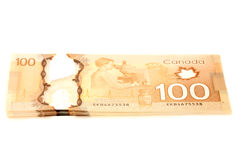 100 dollars de billets de banque de Canadien Image stock