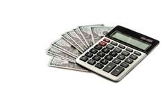 dollars de calculatrice de fond blancs photo stock
