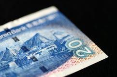 20 dollars de Hong Kong sur un fond foncé Images libres de droits
