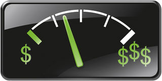 Dollars de jauge de gaz illustration libre de droits