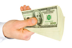 dollars de main Image libre de droits