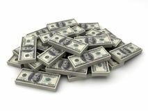 Dollars de millions dans une pile de $100 factures illustration stock