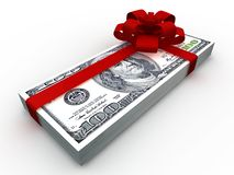 Dollars de paquet de cadeau Images stock