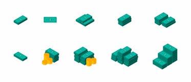 Dollars de paquets, argent, dollar, pile d'argent, pièce de monnaie, isométrique, vecteur, icône plate, paquet d'icône, ensemble  illustration libre de droits