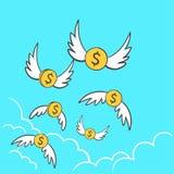 Dollars de pi?ces de monnaie d'argent avec le vol d'ailes parti au ciel Une id?e de d?passement du budget d'illustration pour per illustration stock