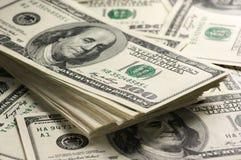 Dollars de plan rapproché de pile Photographie stock libre de droits