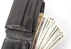 Dollars in de portefeuille Royalty-vrije Stock Fotografie