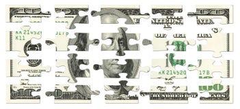 100 dollars de puzzle Photographie stock libre de droits