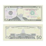 50 dollars de vecteur de billet de banque Devise des USA de bande dessinée Deux côtés d'argent Bill Isolated Illustration de cinq Image stock