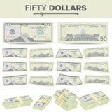 50 dollars de vecteur de billet de banque Devise des USA de bande dessinée Deux côtés d'argent Bill Isolated Illustration de cinq Images stock