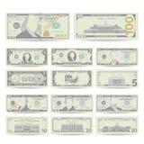 Dollars de vecteur réglé de billet de banque Devise des USA de bande dessinée Deux côtés d'argent américain Bill Isolated Illustr Images libres de droits