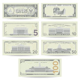 Dollars de vecteur réglé de billet de banque Devise des USA de bande dessinée Flip Side Of American Money Bill Isolated Illustrat Image stock