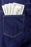 Dollars in de zak Stock Foto