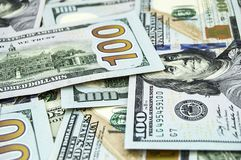 Dollars des Etats-Unis, Etats-Unis $ 100, vieilles et nouvelles 100 photos du dollar, grandes photos du dollar dans différents co Photos libres de droits