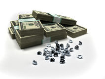Dollars and diamonds Stock Images