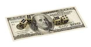 Dollars and Dice Stock Images