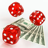 Dollars and dice Royalty Free Stock Photography